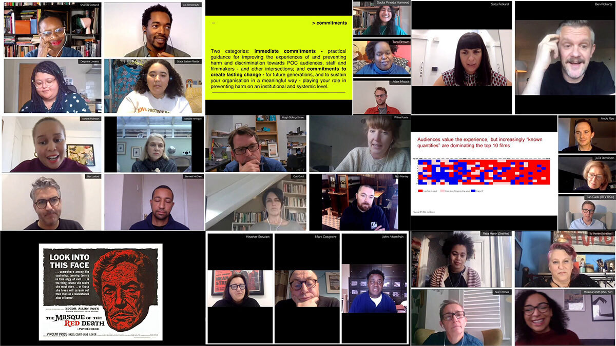 A composite image made up of lots of people on video calls at This Way Up conference 2020.