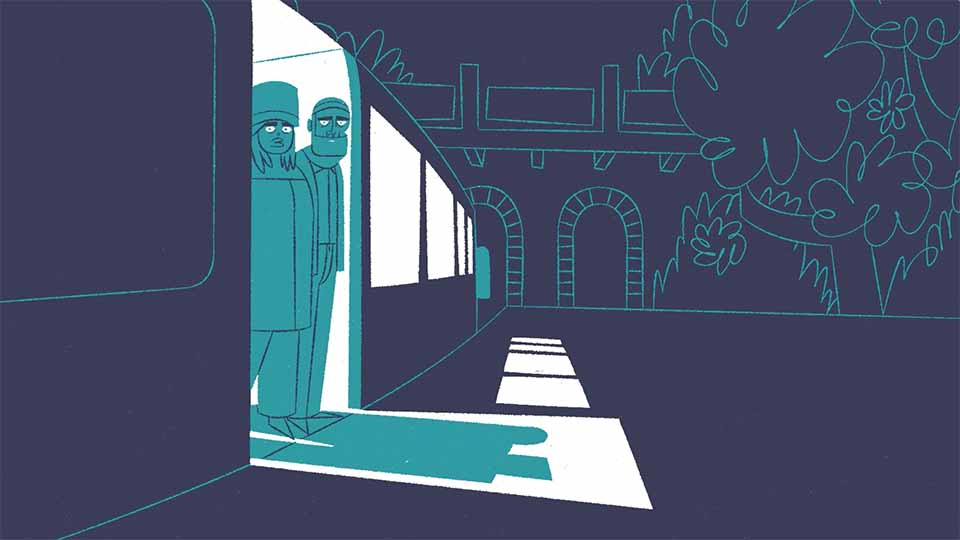 A still from an animation. The whole frame is made up of shades of blue. A couple stand looking out of a train carriage.