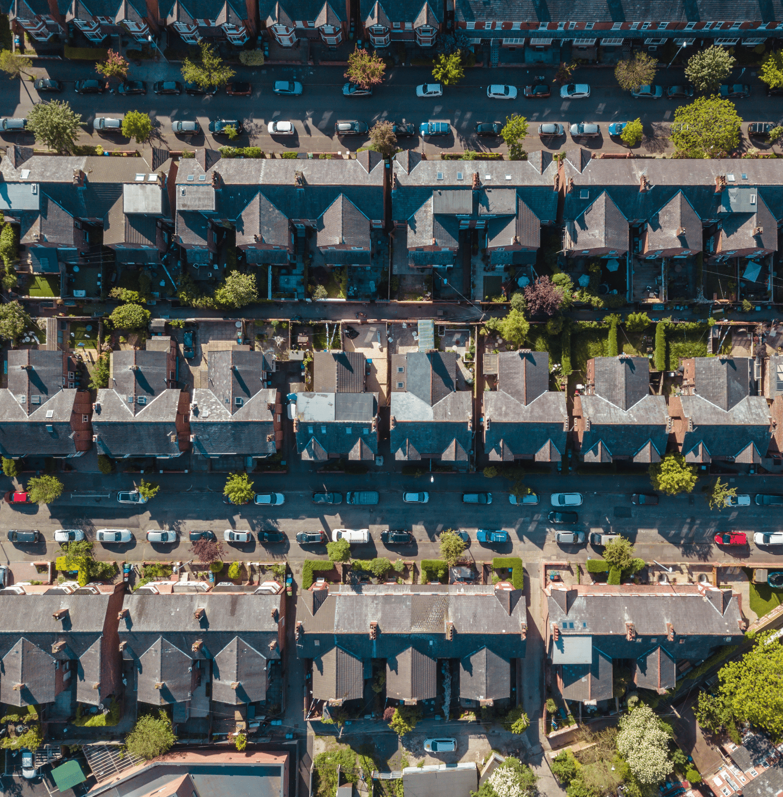 Bird's eye view of houses and streets